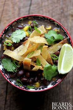 Black Bean and Fire Roasted Corn Chili with Cumin Dusted Tortilla Strips #Gluten-Free