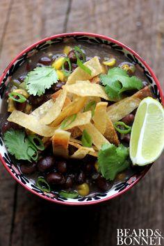 Black Bean and Fire Roasted Corn Chili with Cumin Dusted Tortilla Strips by beardandbonnet #Chili #Gluten_Free #Vegan