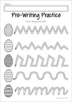 Easter Preschool No Prep Worksheets & Activities. Pre-writing practice.