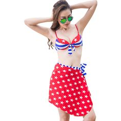 Blue Ladies American Flag Printed Skirted Swimsuits ($27) ❤ liked on Polyvore featuring swimwear, blue, blue swim suit, usa flag swimsuit, american flag bathing suit, swim suits and swimming costumes