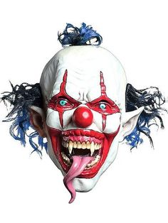 morbid enterprises snake tongue evil clown mask redwhiteblue one size be the scariest clown in town with this scary clown mask with an evil look and