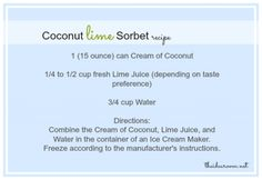 Coconut Lime Sorbet Recipe Card