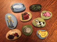 Farm Themed Hand Painted Story Stones