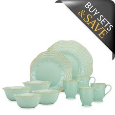 Lenox® French Perle™ 16-Piece Dinnerware Set in Blue