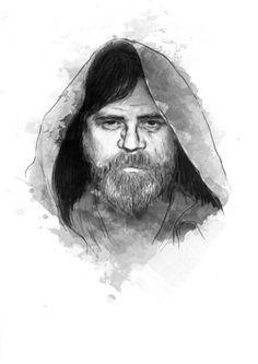 """""""the lost jedi : luke skywalker"""" digital sketch,  2015"""