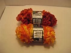 Lot of 2 Skeins of Yarn Bernat Boa Eyelash Yarn-50 gram  Orange/Yellow & Rust42 #Bernat