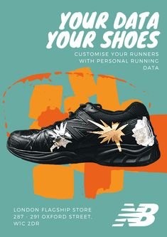 #QUTDesign #DVB302 #DataVisualisation #InformationDesign  The radial charts on the shoe represent total distance, time and steps taken in 41 recored runs. Running Sneakers, Running Shoes, Information Design, Oxford Street, Unique Shoes, Data Visualization, Your Shoes, Designer Shoes, Charts
