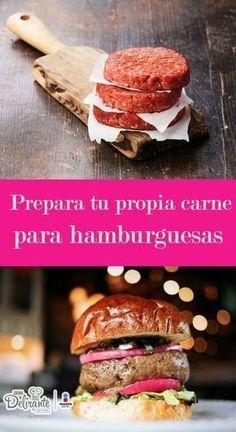 Prepara tu propia carne para hamburguesas   CocinaDelirante Slider Recipes, Burger Recipes, Grilling Recipes, Cooking Recipes, Sushi Time, Grilled Beef, Sausage Recipes, Food Packaging, Salmon Burgers