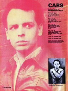 Gary Numan, Cars, 1979 New Wave Music, The New Wave, 80s Music, Music Mix, Gary Numan, Old School Music, Lost In Translation, Music Artwork, Post Punk