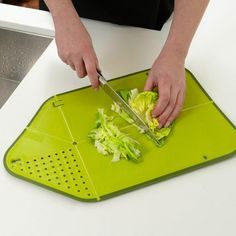 Chopping/cutting Board with Integrated Strainer/Colander BEST PRODUCT: Cutting board with the ability to intergrade into a colander to rinse your vegetables, without dropping any cut veggies in the process