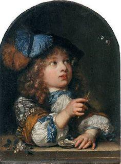 A Young Boy Making Bubbles-Caspar Netscher (1639 – 1684, Dutch)