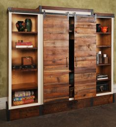 Sliding Barn Door Wall Unit would be a great solution for playroom doors Salvaged Furniture, Reclaimed Wood Bookcase, Interior Barn Doors, Sliding Wall, Entertaining Decor, Barn Wood, Door Wall, Wall Unit, Barnwood Paneling