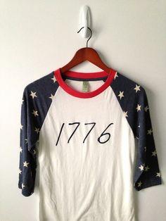1776 . Baseball Tee by greythread on Etsy, $42.00