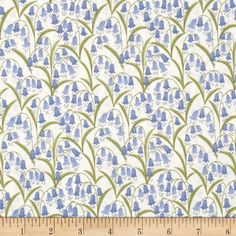 Bluebell Wood Bluebell Fields Cream from @fabricdotcom  Designed by Lewis and Irene, this nature inspired cotton print fabric is perfect for quilting, apparel and home decor accents. Colors include periwinkle, green and cream.