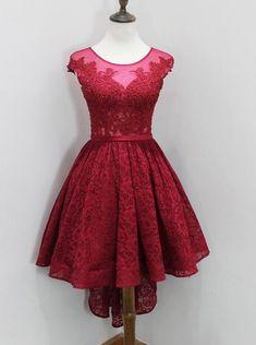 Dark Red Prom Dress vintage,Lace Homecoming Dress freshman,High Low Prom Dress for teens - Wishingdress