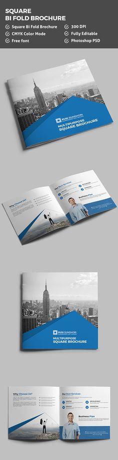 Square Bi-Fold Brochure Template on Behance