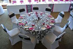 B&W Damask Overlay with fuchsia accents White stretch chair cover/black sash/rhinestone clip fuchsia napkin Stretch Chair Covers, Damask Wedding, Wedding Decorations, Wedding Ideas, Sash, Overlays, White Weddings, Black And White, Napkin