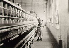 """Lewis Hine """"Girl Worker in a Carolina Cotton Mill"""" (1908); Moments of Childhood; The work of the American photographer Lewis Hine unites moral perspective nad social engagement to a media-conscious application of photography. Especially in his cycle on child labor in the USA, he rose beyond pictorial journalism to create an early model for a humane photo journalism."""