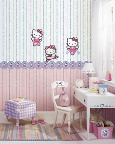 York Wallcoverings BT2790 Hello Kitty Stripe Wallpaper, Cotton Candy Pink/Strawberry Pink/Fuchsia - - Amazon.com