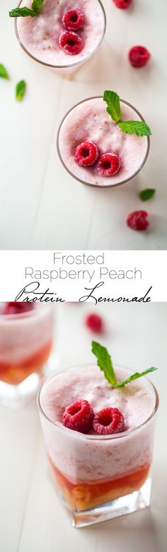 Frosted Peach Raspberry Lemonade - This frosted raspberry lemonade uses a secret ingredient to keep to high protein, sugar free and low calorie! A refreshing, healthy, drink for Summer! | Foodfaithfitness.com | @FoodFaithFit #TryAboutTime