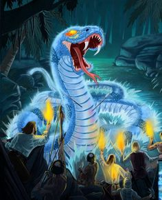 Boitata- Brazilian myth: a giant snake that was on fire( sometimes blue fire) and protected fields that it called his home from being torched.