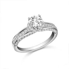 1-1/3 CT. T.W. Round Diamond Engagement Ring with Side Accents in 14K White Gold - Clearance - Zales