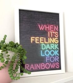 Neon light effect print in all the rainbow colours ! I absolutely love this print and hope to get one when my office is ready! If yove love rainbows & nature as much as we do, check out our canvas wrap & kids t-shirt range - click that link! Rainbow Light, Love Rainbow, Rainbow Print, Rainbow Colors, Rainbow Things, Light Captions, Unicorn Quotes, Rainbow Quote, Light Quotes