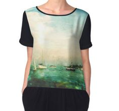 Women's Chiffon Top #sailboat #navypier #ocean #redubble Buy this artwork on other products & prints. #kristadroop