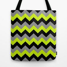 Chevron Silver Lime Tote Bag by Alice Gosling - $18.00  ALL Tote Bags are now full bleed, printed both sides and available in 3 sizes #bag #chevron #pattern #black #silver #grey #green #lime