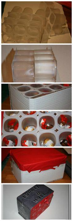 Calendrier de l'avent récup' avec emballages de petits suisses - DIY - Ciloubidouille.com