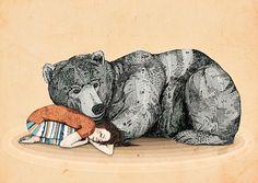 girl with bear illustration - Поиск в Google