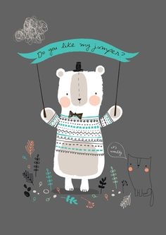 Bear Hug Art Print by The Chalk Lion - Super cute print Art And Illustration, Pattern Illustration, Illustrations Posters, Drawn Art, Doodles, Cute Characters, Cute Art, Kids Room, Art Prints