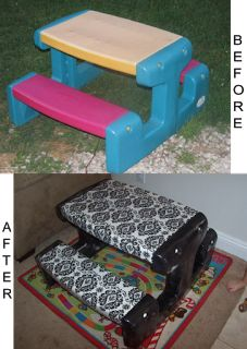 Caroline's Crafty Corner:  Recover an old kids plastic picnic table with fabric covered in vinyl.