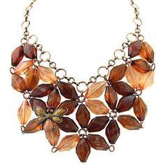 2028 Jewelry Brown Flower Beaded Bib Necklace