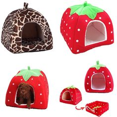 Soft Strawberry Pet Dog Cat Bed House Kennel Doggy Puppy Warm Cushion Basket Pad…