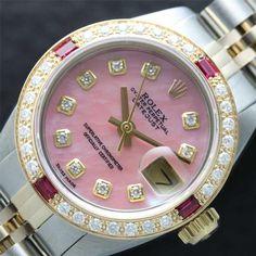 Ruby & Diamonds!  #rolex  http://www.wonderfinds.com/item/3_200896947681/c31387/Authentic-Ladies-Rolex-Two-Tone-18K-Gold-SS-Pink-MOP-Diamond-DateJust-Watch