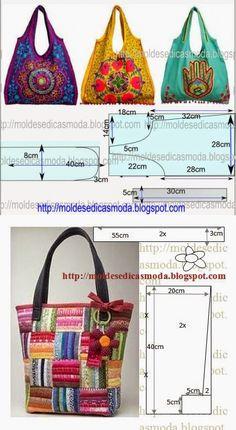 Markéta Rýchliková's media content and analytics Fabric Tote Bags, Diy Tote Bag, Patchwork Bags, Quilted Bag, Homemade Bags, Denim Handbags, Bag Patterns To Sew, Denim Bag, Cloth Bags