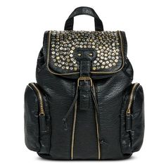 Backpack Handbag with Zipper and Stud Detail