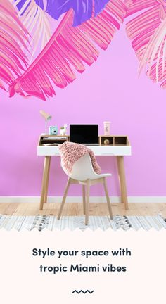 Make a statement with your interior styling, with a maximalist design like this pink and purple tropical leaf wallpaper. Tropical Wallpaper, Beach Wallpaper, Pink Wallpaper, Leaves Wallpaper, Bright Pink, Pink Purple, Bright Colours, Pink Home Decor, Art Deco Buildings