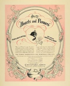 """The Chesapeake and Ohio Railroad: """"Hearts and Flowers"""" valentine for America's """"Sleepheart,""""  Chessie the cat."""