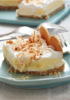 Layered Coconut Cream Cheesecake Bars -- Warning, coconut lovers: you are going to enjoy these fluffy cheesecake bars. Share this delicious dessert recipe at your wedding shower, bridal party or rehearsal dinner!
