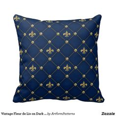 Vintage Fleur de Lis on Dark Navy Blue Pattern Pillow