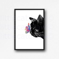 Black Cat With Colorful Butterfly Watercolor by Littlecatdraw