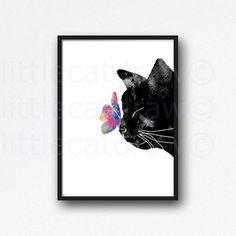 Katze Print schwarze Katze mit bunten Schmetterling Aquarell Malerei Kunstdruck Cat Print ungerahmt Kunstdruck/Poster Schlafzimmer Wand-Dekor