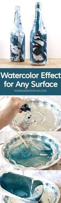 Watercolor Effect for Any Surface! Create a watercolor effect on any water resistant surface!   HomemadeHooplah.com