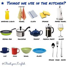 Let's check if you know the kitchen vocabulary. ✅WRITE IN COMMENTS What do you use every day and how? #boost_vocabulary  #kitchenvocabulary #washingliquid #towel #cloth #sponge #papertowel #fryingpan #saucepan #teapot #frenchpress #glass #cup #mug #bowl #plate #spoon #fork #knife #englishonline #teachingenglish #englishvocabulary