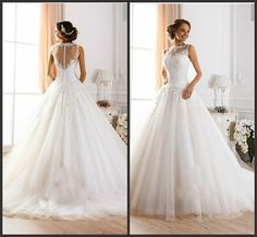 Robe Mariage 2015 Sheer Button Princess Wedding Dresses Sheer High Neck Appliques Lace Organza Short Trains White Vintage Ball Wedding Gowns, $134.04   DHgate.com