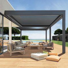 Modern Design Free Standing Pergola with Side Screen Pergola Diy, Pergola Canopy, Pergola With Roof, Cheap Pergola, Pergola Shade, Patio Roof, Backyard Patio, Aluminum Pergola, Pergola Retractable