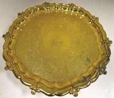 Antique English, Sterling Silver Gilt Salver. Check web site EstateSilver.com