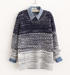 Free shipping vintage gradient blue casual sweater gradient pullover three colors $34.90